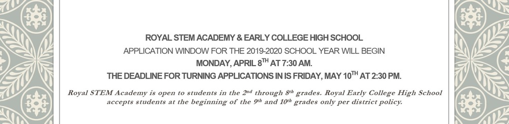 Application Window for the 2019-2020 School Year!