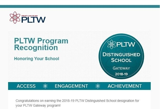 Royal STEM Academy Named a PLTW Distinguished School for the 2018-2019 School Year