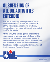 UIL Announces Extended Suspension of All UIL Activities