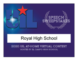 ROYAL WINS UIL AT HOME EXPERIENCE SPEECH SWEEPSTAKES CHAMPIONSHIP!