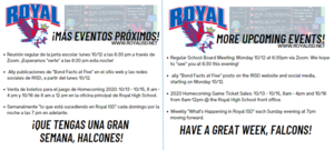 ​More upcoming events for this week! School Board Meeting, Homecoming Game Tickets