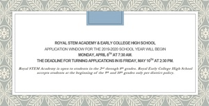 2019-2020 STEM/ECHS Application Window