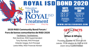 Just the Facts! Join RISD Leadership to Learn About Royal ISD Bond 2020 (Zoom Meeting)