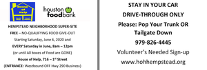Drive Through Food Pantry Each Saturday in June