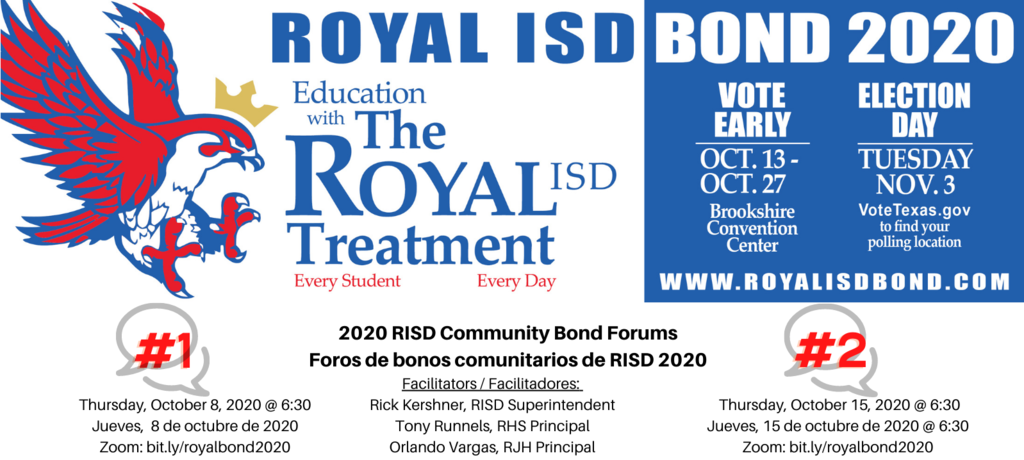 VOTER REGISTRATION ENDS TOMORROW! Make sure you register online at www.votetexas.org! Your vote is your voice!   Don't forget! Royal ISD is holding Community Bond Forums on Thursday, October 8 and October 15, both at 6:30pm. Visit https://bit.ly/34ohQCBsz for details!