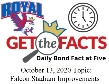 "For today's ""Bond Facts at Five"",  you will hear a message from RHS Principal Tony Runnels regarding the proposed improvements for Falcon Stadium, such as safety upgrades and conversion to a multi-purpose community facility. Early voting is in full swing!  www.royalisdbond.com"