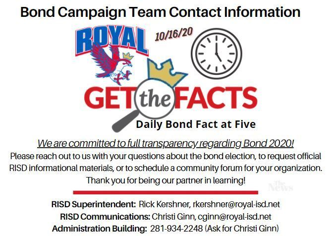 Happy Homecoming 2020 and happy fall! Have questions about Bond 2020? Reach out to the RISD bond campaign team! Call 281-934-2248 and ask for Christi Ginn, email Christi (cginn@royal-isd.net), or email Superintendent Rick Kershner (rkershner@royal.com). Go Falcons!