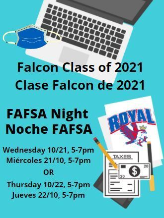 Reminder for RHS seniors: FAFSA Night is Wednesday 10/21 and Thursday 10/22, 5-7pm each night. Required items: charged Chromebook, a copy of your 2019 tax return, and masks for all attendees. #classof2021 #maskup #gofalcons