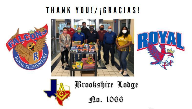 Thank you to the Brookshire Masonic Lodge for their generous school supply donation for our Elementary and Early Childhood Falcons! The Lodge donates annually to our youngest Falcons to help keep them soaring! THANK YOU!