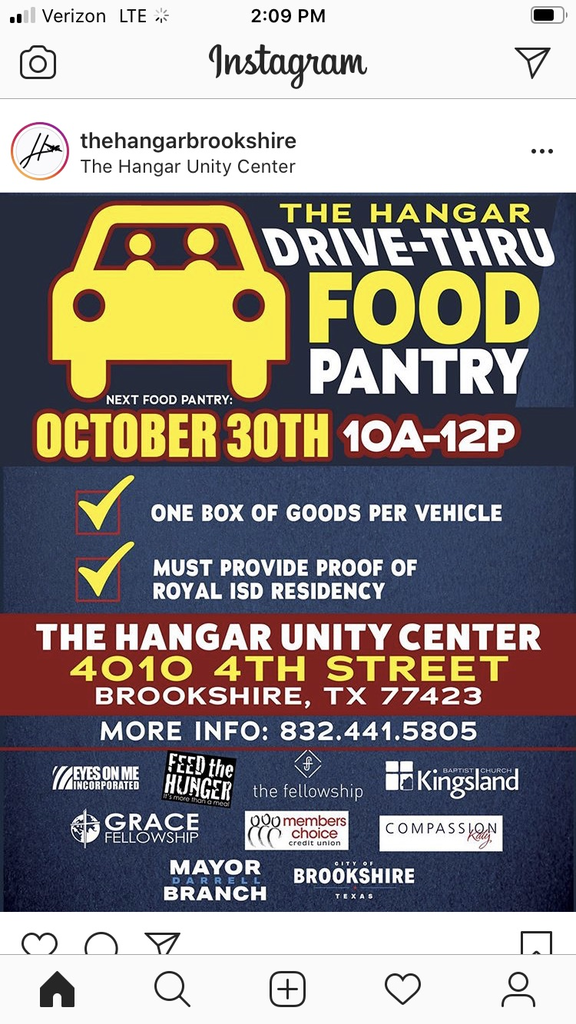 Reminder! The next Hangar Drive-Thru Food Pantry is Friday, October 30 from 10am-12pm at 4010 4th Street, Brookshire, TX. Please see the attached flyer for complete information.