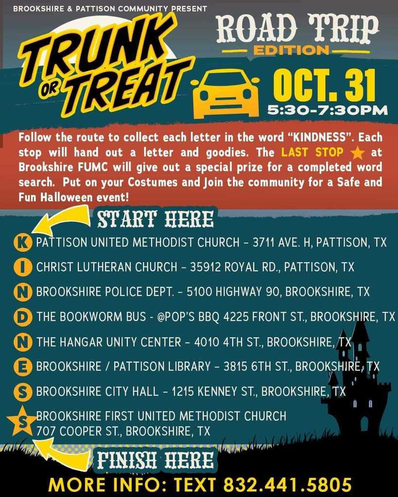 Royal ISD wishes all our Falcons a safe and happy Halloween! Fly on over to tonight's Mobile Trunk or Treat Road Trip Edition from 5:30pm-7:30pm to pick up some ghoulishly yummy treats! Visit https://5il.co/m858 to view the stops. Complete the scavenger hunt for a special prize!