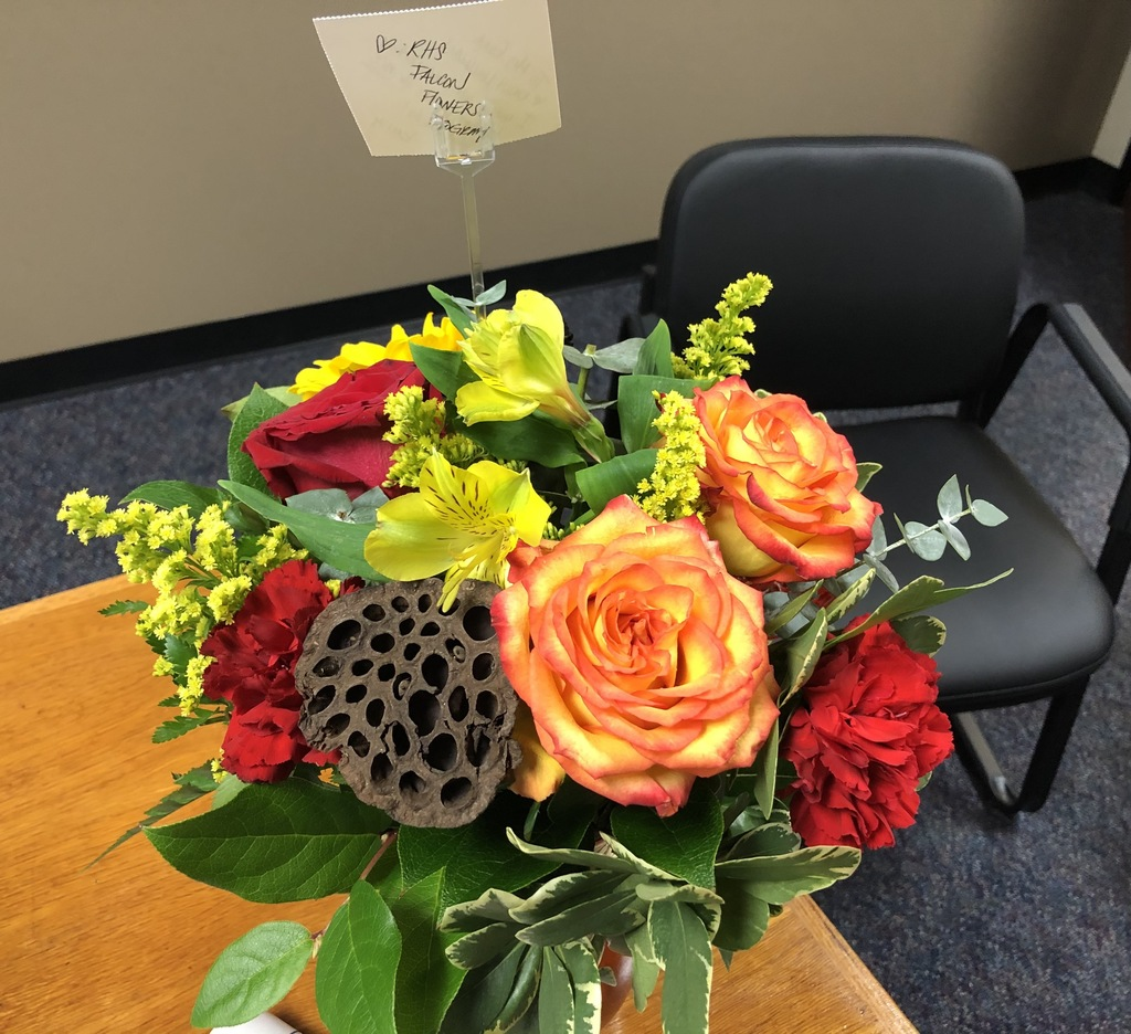 Thank you to a sweet community member for sending flowers to Christi Ginn in RISD Communications. They are beautiful! Interested in a monthly design to brighten your home or office? Visit https://www.royal-isd.net/article/336508?org=royal-isd for details.