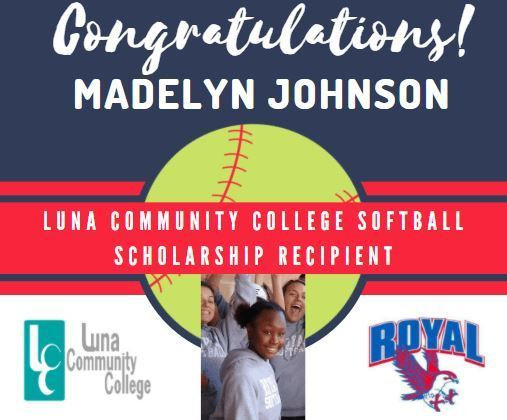 Madelyn Johnson is the first RHS softball player in Royal ISD history to sign to play college softball. She will attend Luna Community College in New Mexico on a softball scholarship for the 2021-2022 school year. Signing ceremony pictures will be shared after the break.
