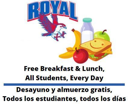 Great news for Falcon families! We are pleased to announce that meals will continue to be offered at no cost to Royal families for the remainder of the 2020-2021 school year.
