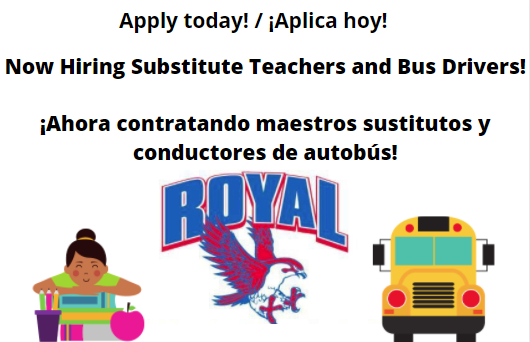 Interested in earning extra income? Royal ISD is always in need of additional bus drivers and substitute teachers. Visit https://royalisd.tedk12.com/hire/index.aspx to apply today!