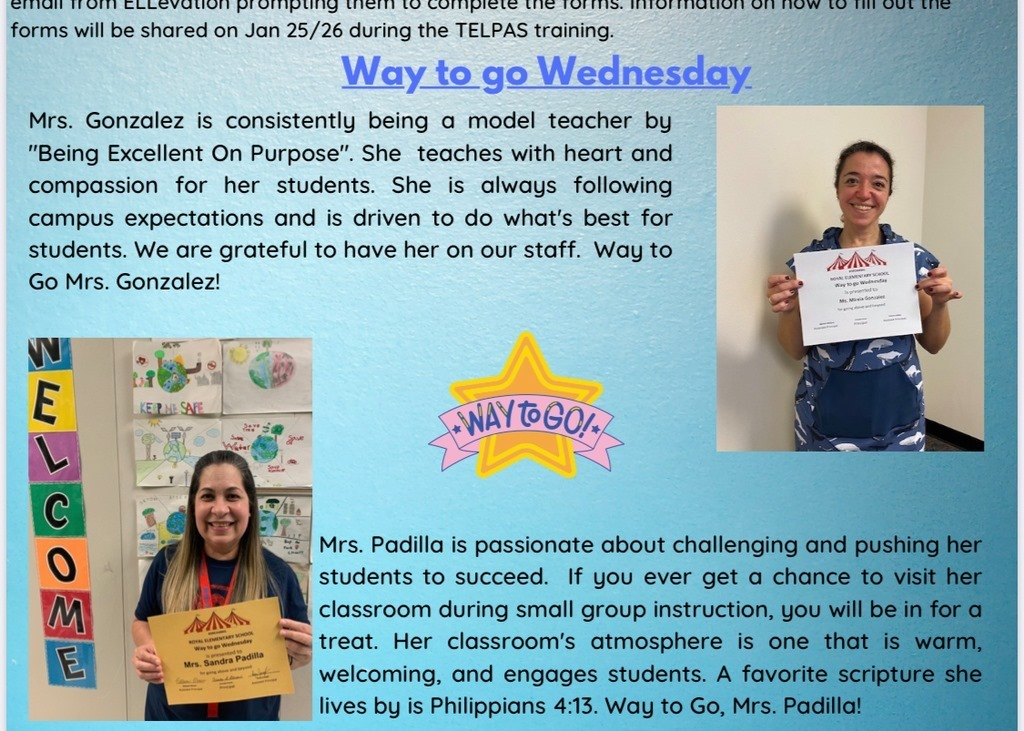 Way to Go Wednesday recipients for the month of January at RES!