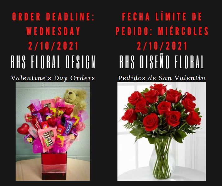 ORDER NOW! RHS Valentine's Day Bouquet Orders Deadline is TODAY, Wednesday, 2/10/2021. Visit http://bit.ly/3jAw9MU to place your order.