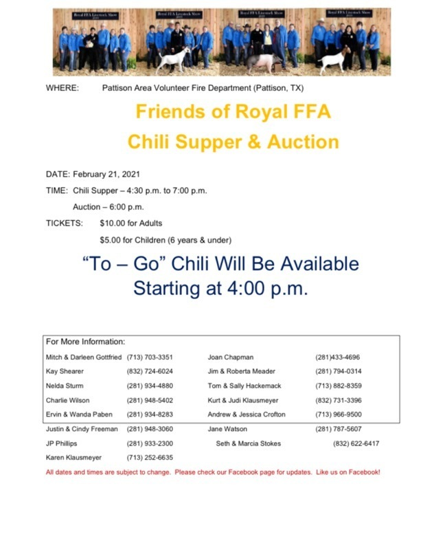 Reminder! Join us for the 2021 Friends of FFA Chili Supper on Sunday, February 21, 4:30PM - 7:00PM. See attached flyer for complete details.