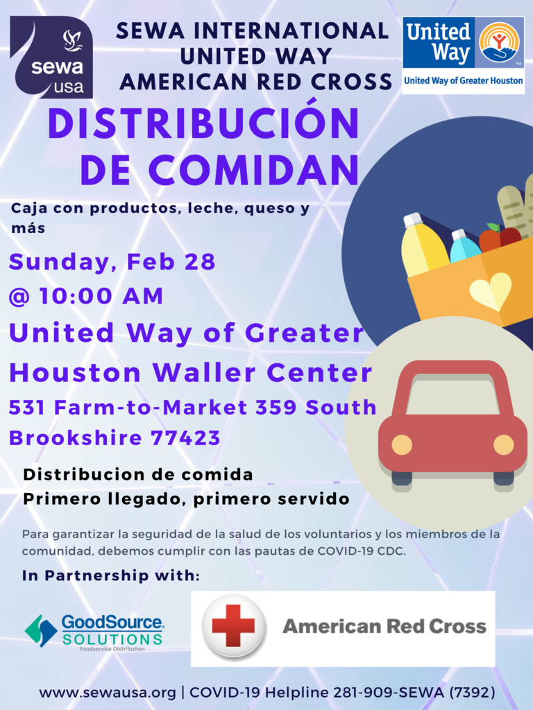 Reminder! SEWA International, United Way, and American Red Cross will have a food distribution on today (Sunday, 2/28)  at the United Way Waller Center (531 FM 329 South, Brookshire TX 77423). First come, first serve. Please see attached English and Spanish flyers for details.