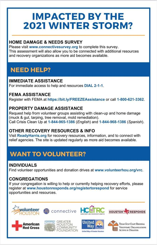 Were you impacted by the recent winter storm? Please see the attached flyer for assistance resources.