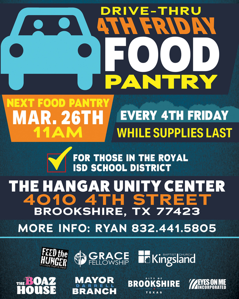 Exciting events will be happening this weekend at The Hangar .  Join them on Friday, March 26 for their  Food Pantry, and on Sunday, March 28 for a fun filled afternoon. See the attached flyers for complete details. Thank you to The Hangar for all they do for the Royal community!