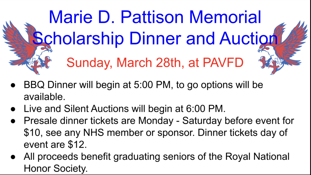 Reminder! The NHS Scholarship Dinner is Sunday, March 28 at 5pm. See attached flyer for complete details. All proceeds benefit Royal NHS seniors.