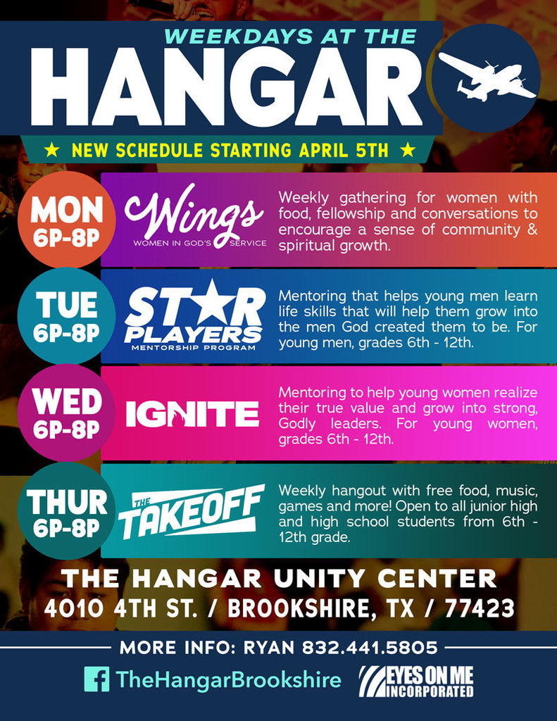 Exciting things are happening at The Hangar Unity Center. The attached flyers provide a list of this week's events.