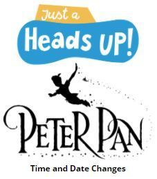 Schedule change! The RHS theater performance of Peter Pan has been moved to May 7 at 8:00PM, May 8 at 12:00PM, and May 8th at 6:00PM.