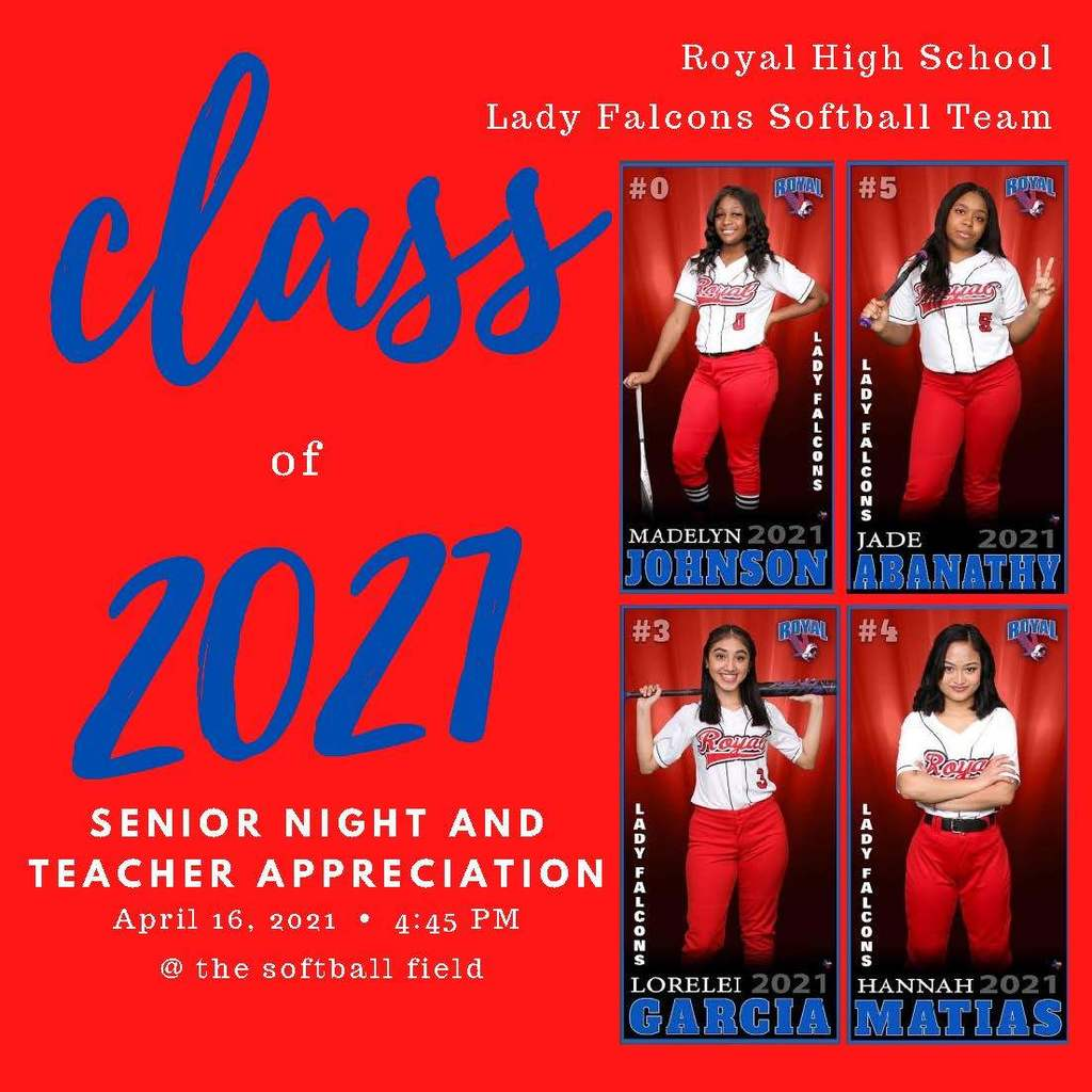Next Friday, April 16th, is our Lady Falcons Softball Team Senior Night and Teacher Appreciation Night! Please join us at 4:45 pm to celebrate the Class of 2021 Softball Players, honor our wonderful Royal teachers, and compete against the Sealy Tigers! Flyer: https://5il.co/rf4p