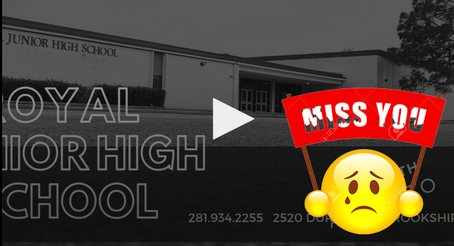 Attention Junior High students! Visit https://animoto.com/play/YyxyZS5OdwMeMwZ1Iz7mTA to view a video from your teachers. They miss you!