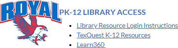 PK-12 Library resources are now available on the Learn@Home portal! Visit the Royal Falcons Learn@Home page to access them.
