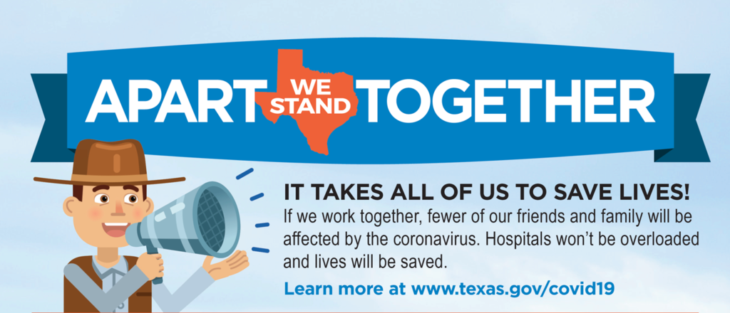 By staying apart, we can all be together faster. Do your part to keep fellow Texans safe. https://5il.co/eien