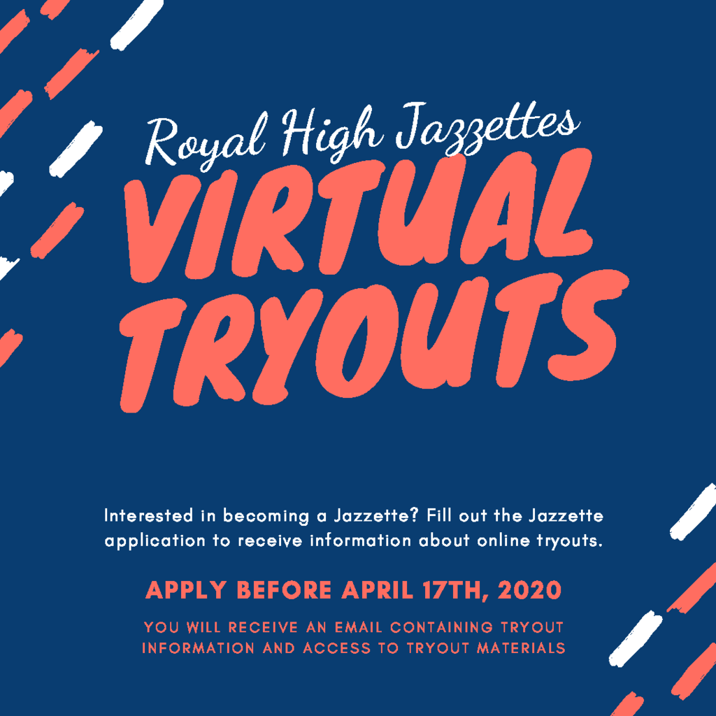 Attention RJH 8th Graders! Interested in becoming an RHS Jazzette? Visit https://www.royal-isd.net/article/229731?org=royal-isd for details. The application deadline is Friday, April 17, 2020.