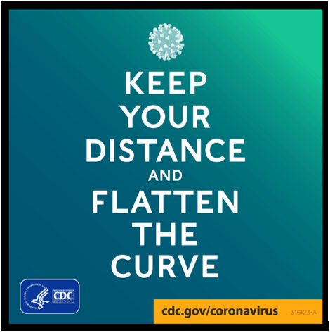 Practice social distancing by putting space between yourself and others. Continue to practice healthy habits to help slow the spread of COVID-19. Learn more: www.cdc.gov/coronavirus.  Flatten the curve: https://www.facebook.com/CDC/videos/654532752039663/
