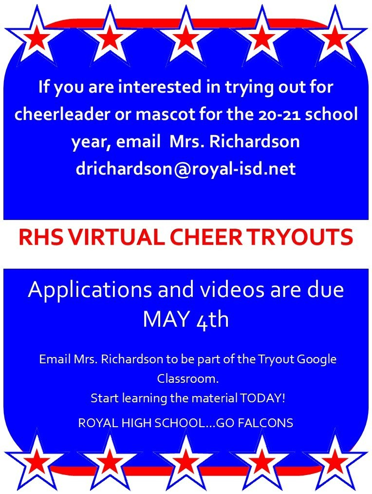 Interested in becoming a RHS cheerleader? Virtual cheer tryouts are coming soon! Visit https://5il.co/f6eu for details. Good luck!