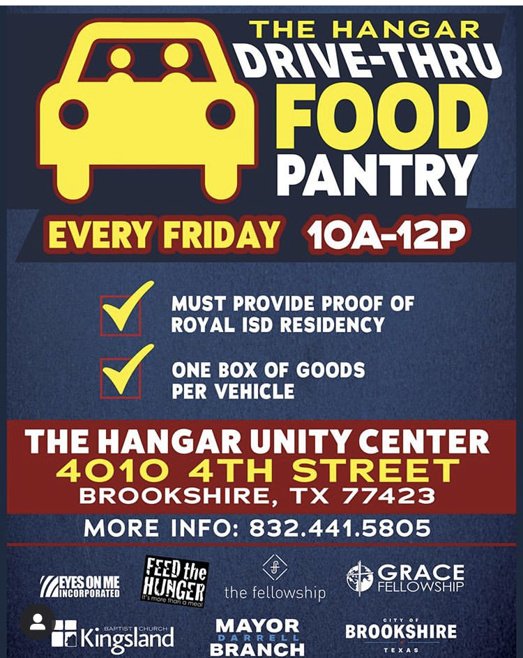 The Hangar Drive-Thru Food Pantry will resume tomorrow, 4/17/20.