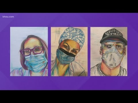 Missouri City artist honors frontline workers through portraits. https://bit.ly/2VgOR1u