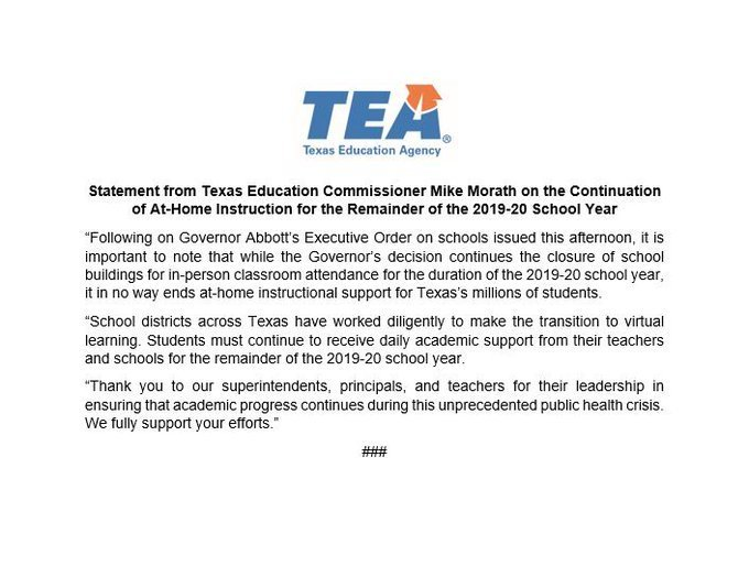Royal parents: We're continuing to provide at-home instructional support for the remainder of the 2019-20 school year, even though our school buildings remain closed. #txed #StayHomeTexas #ApartTogether @teainfo