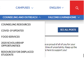 "Good morning! To streamline the district website, community resources have been combined under the new ""Counseling and Outreach"" tab.  Similar updates have been made to each Campus page. Thank you for your support and patience! Thank you again for your support! #strongertogether"