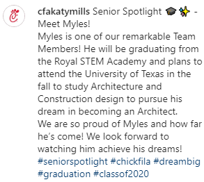 The Katy Mills ChickFilA shared the attached message about their employee, Royal senior Myles! You make us proud, Myles! Thanks to Ms. Perez at RES for sharing! #seniorspotlight #chickfila #dreambig #graduation #classof2020