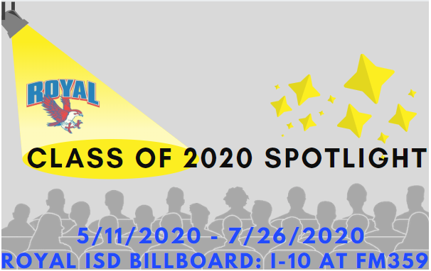 Greetings Falcons! Visit https://www.royal-isd.net/article/248736?org=royal-isd to see this week's list of senior spotlights on the RISD billboard!