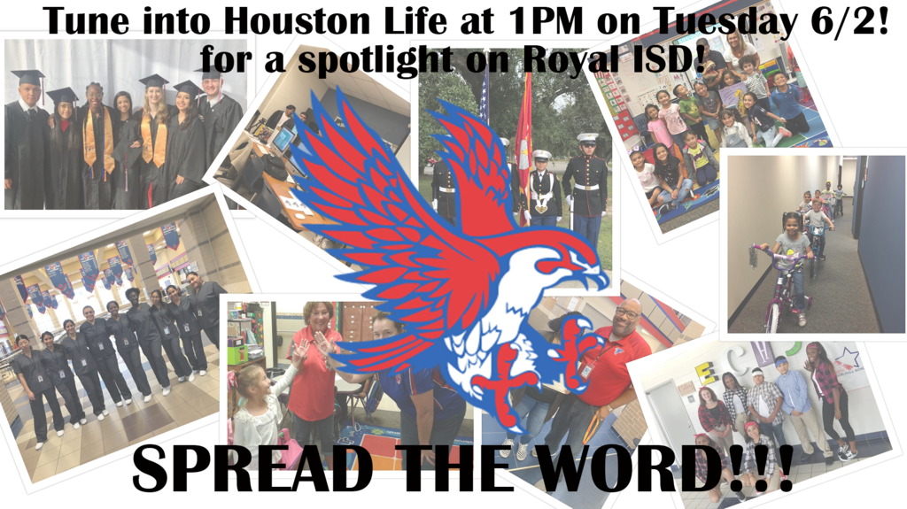 KPRC's Houston Life (https://bit.ly/GoPublicGoRoyal) will spotlight RISD at 1PM tomorrow (6/2)! Go Public Gulf Coast has partnered with KPRC to promote area public schools, and Royal ISD will be featured on 6/2. Check out the prior RISD spotlight: https://bit.ly/RISD_GoPublic