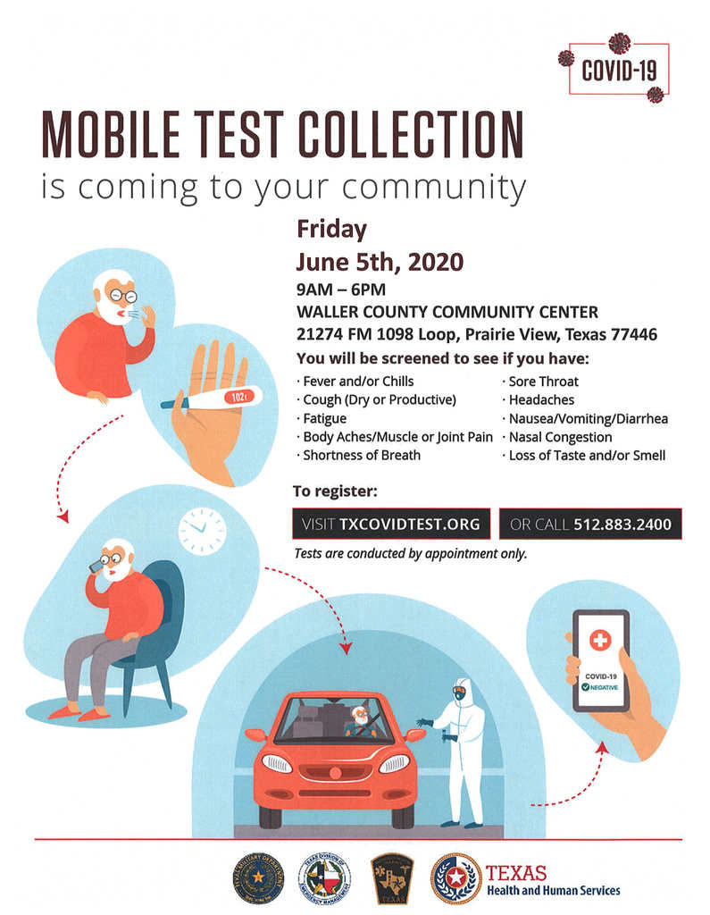 Mobile COVID-19 Testing is coming to your area on Friday, June 5, 2020 from 9am - 6pm. Tests are conducted by appointment only. See the attached flyer for registration and location details.