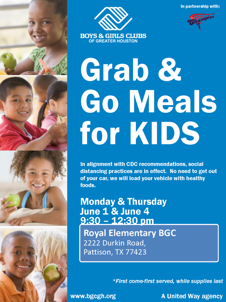 Visit Royal Elementary on Thursday 6/4 from 9:30am - 12:30pm for our next Falcon Drive-Thru! Please bring each child OR a RISD badge or bus pass for each child. Each child will receive 12 meals (breakfast/lunch/dinner for Thursday, Friday, Saturday, and Sunday).