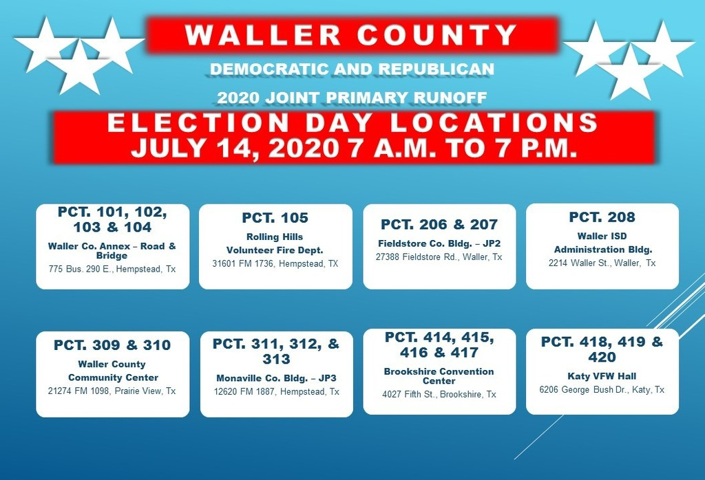 TUESDAY 7/14/20 is ELECTION DAY for the Democratic and Republican Runoff Election. You must vote in your ASSIGNED polling location on Election Day. Below are the CONSOLIDATED voting locations. Polls open at 7am!