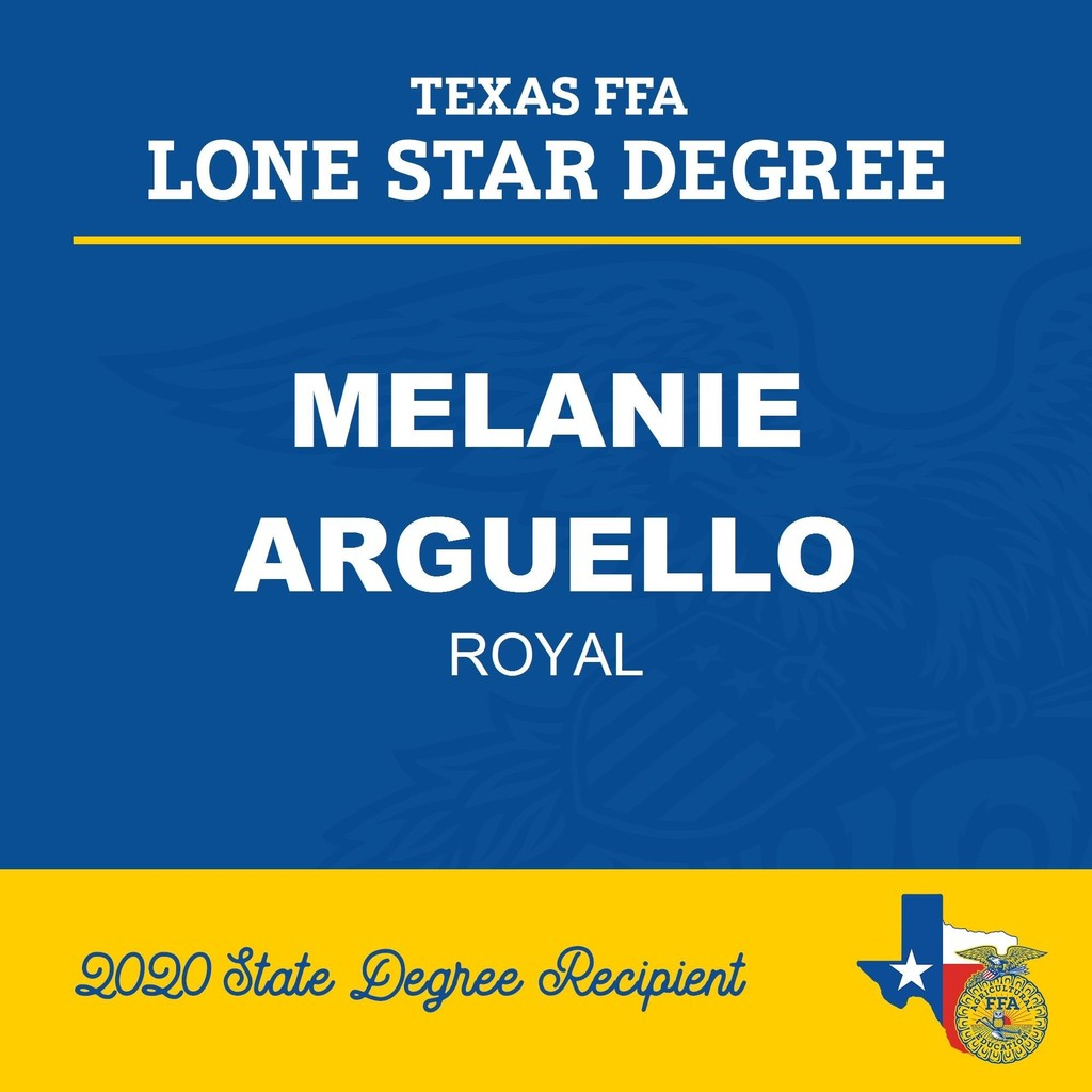 Congratulations to Melanie Arguello for receiving her Texas FFA Lonestar Farmer Degree (given to students who have completed an agriculture course for a minimum of three years  and participated in a Supervised Agriculture Experience of their choice). https://bit.ly/3j4DZhp