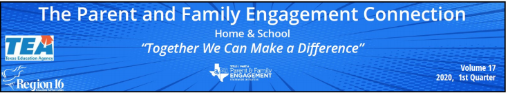 The new issue of  Parental & Family Engagement CONNECTION, is available ! English: https://www.esc16.net/upload/page/4569/20-21%201st%20Quarter/PFE%20newsletter-%20English.pdf. Spanish: https://www.esc16.net/upload/page/4569/20-21%201st%20Quarter/PFE%20newsletter-%20Spanish.pdf