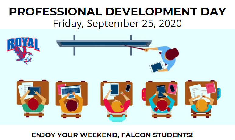 Reminder, Falcon parents and students! Friday 9/25/2020 is a  professional development day. Students get a day off and educators receive actionable, relevant guidance. Visit http://bit.ly/RISD20-21 to view the 20-21 district calendar. Enjoy your weekend!